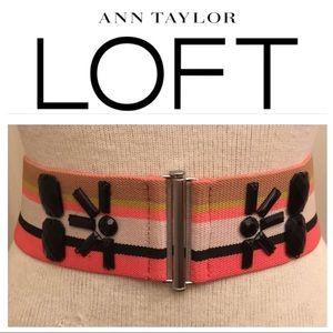 LOFT  Web Elastic Striped Belt Black Acrylic